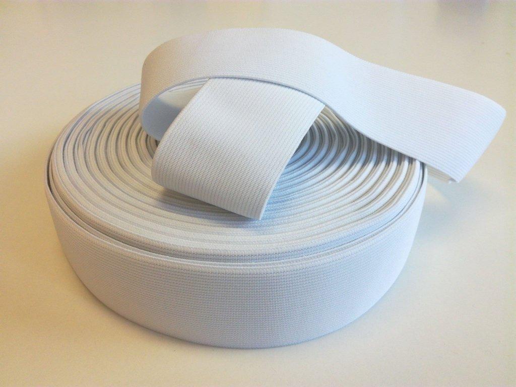Tkaná pruženka 50mm bílá tažnost 110% 83pes 17 elastan 21 Kč