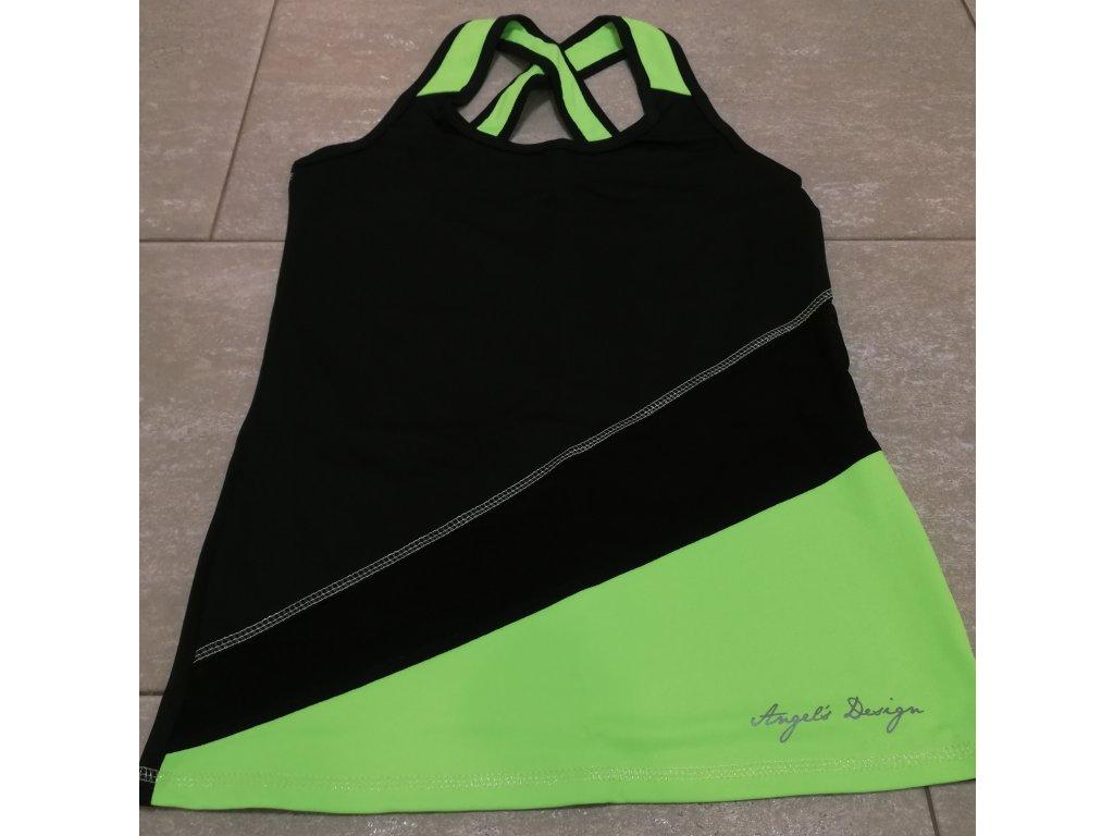 Tílko boxer dámské černo/zelené, síťka