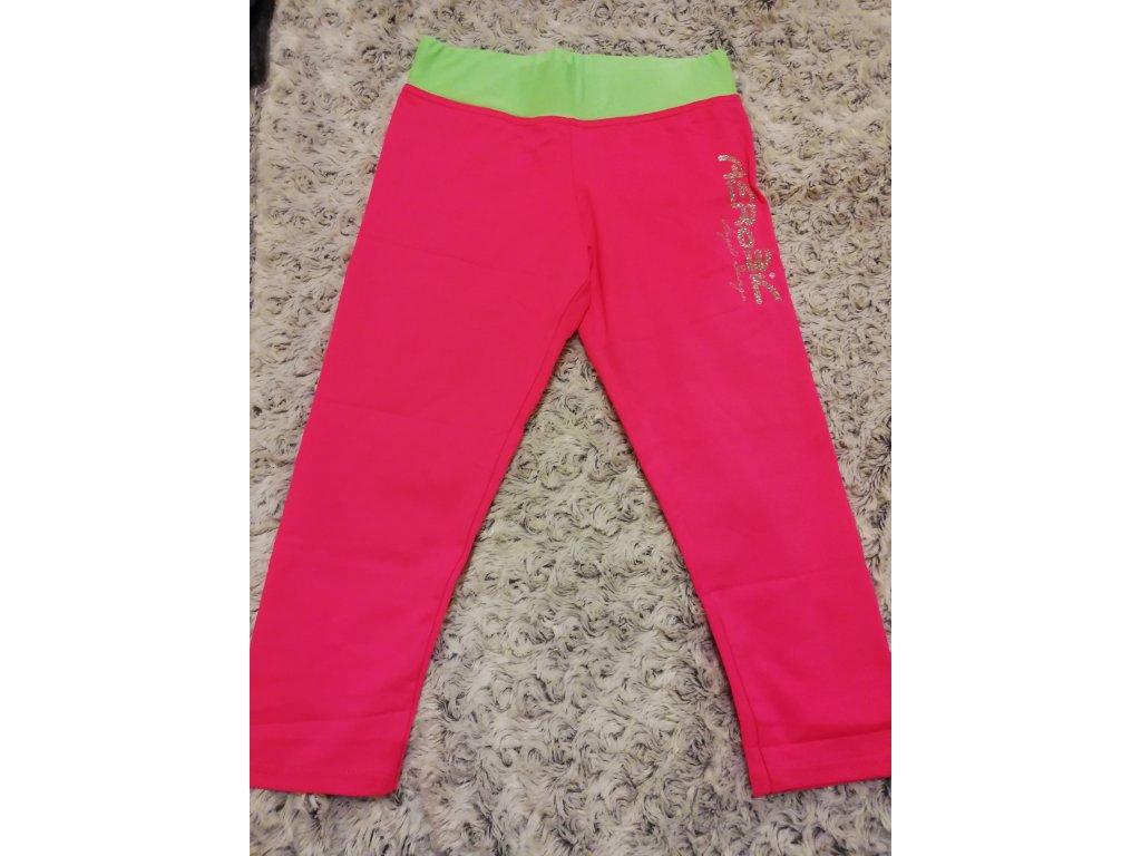 Legíny 3/4 růžové, zelený pas, stříbrný aerobic