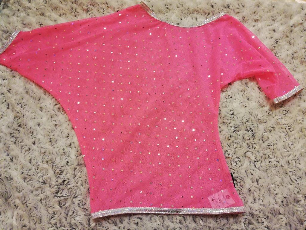Taneční triko elastický tyl NEON RŮŽOVÉ, glitter