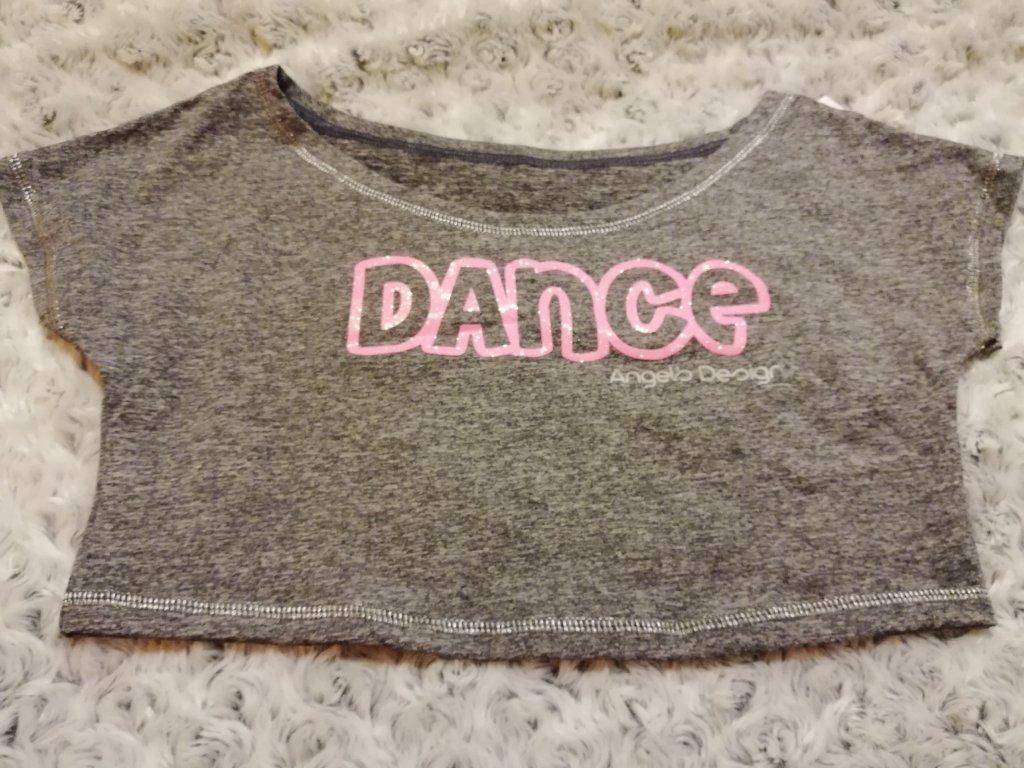 Crop-top SPORTY šedý, růžový DANCE