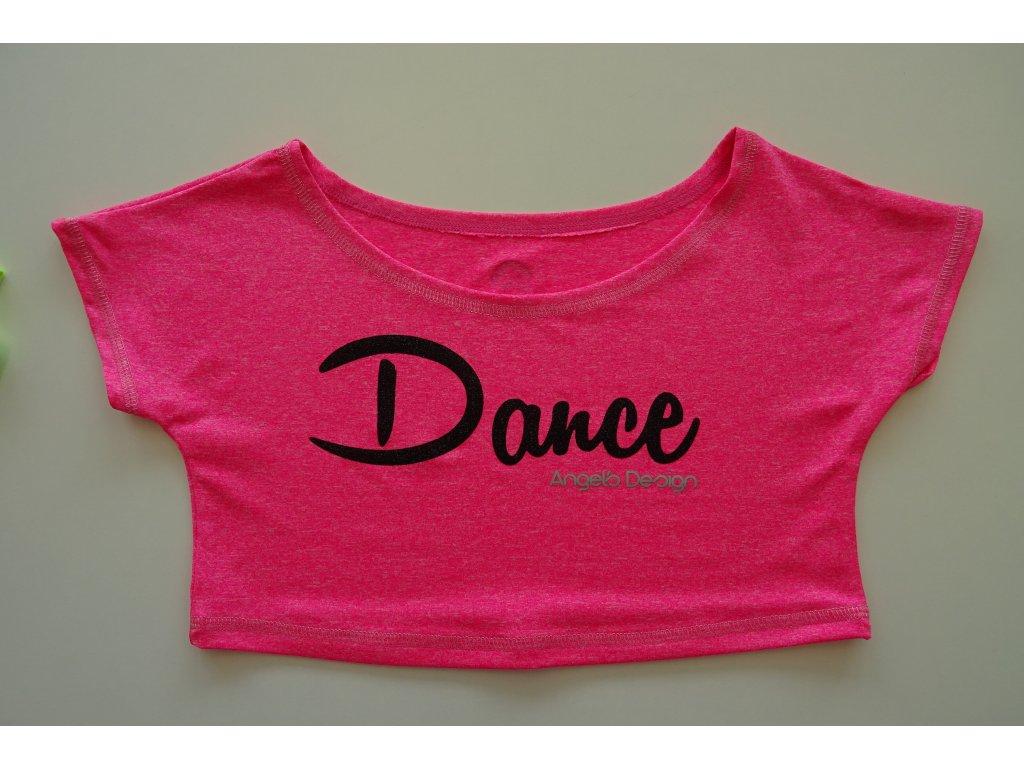 Crop-top SPORTY růžový, černý DANCE