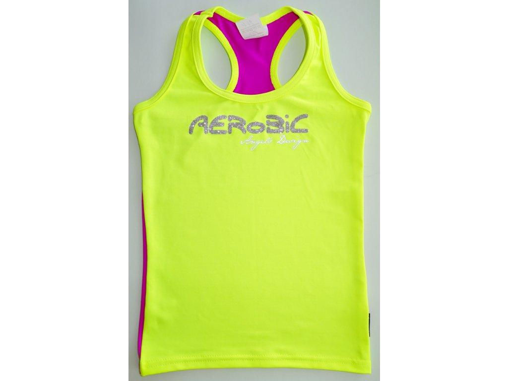 Tílko boxer žluté, fialová záda, stříbrný AEROBIC