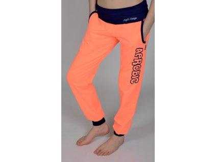 Tepláky Hips Up oranžové, tmavěmodrý pas