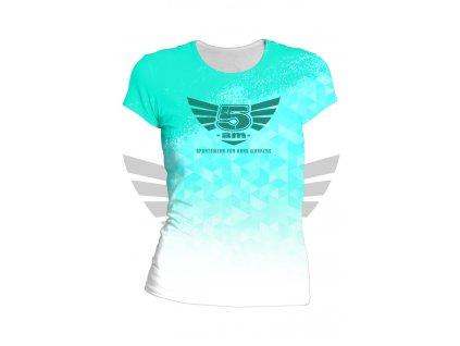 Dámské fitness tričko 5 am tyrkysové