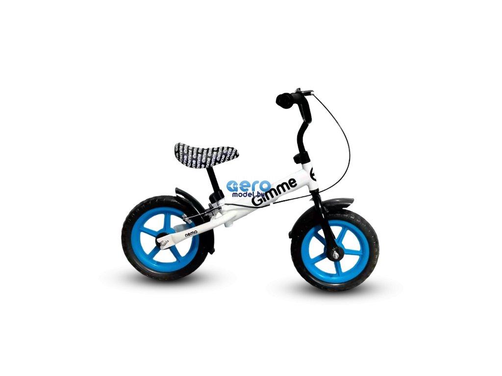 GIMME: Fehér pedál nélküli kerékpár fékkel Nemo - kék