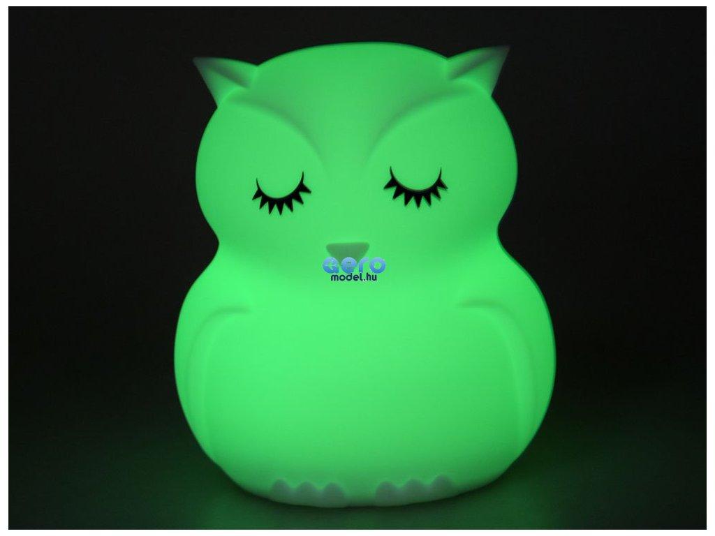 Bagoly szilikon LED éjjeli hordozható lámpa + távirányító