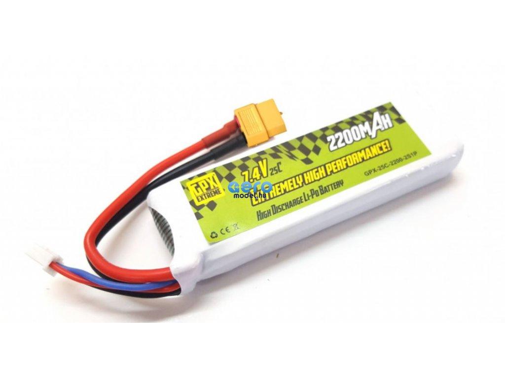 LiPo GPX Extreme 2200mAh 7.4V 2S1P akkumulátor