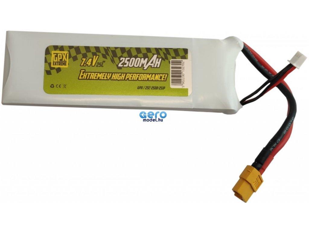 LiPo GPX Extreme 2500mAh 7.4V 2S1P akkumulátor