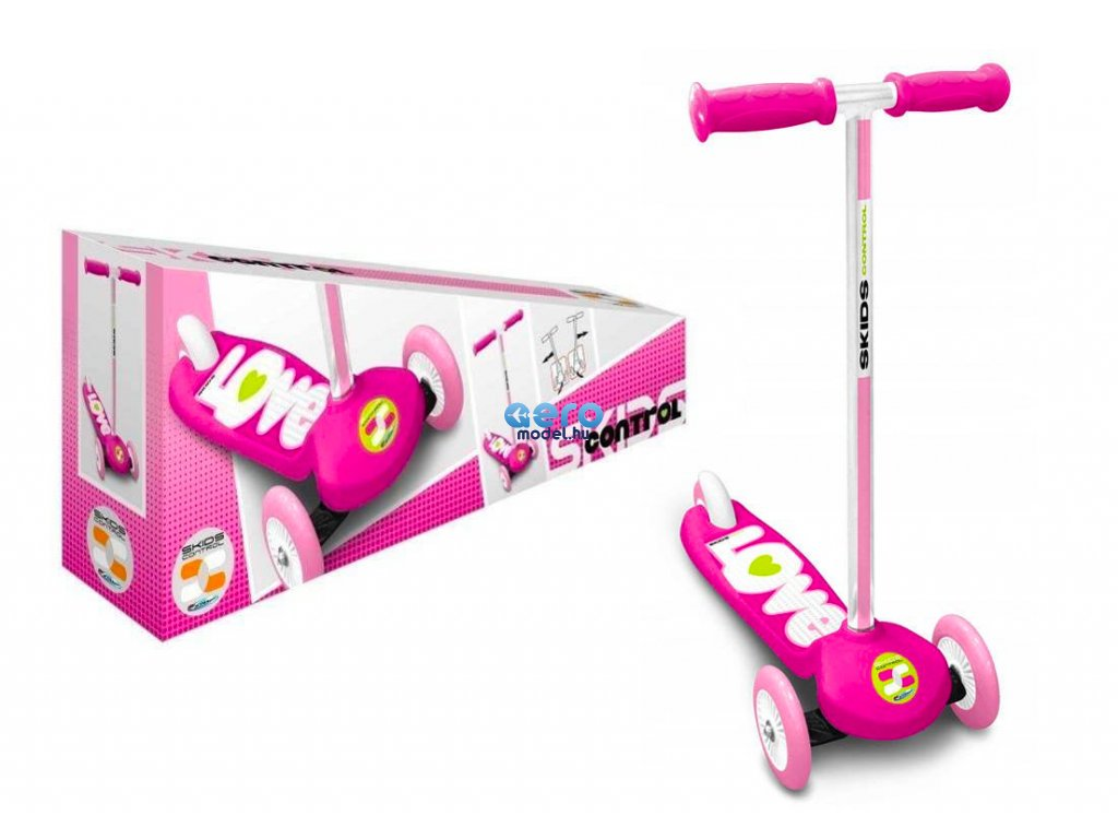 3 kerekű roller rózsaszín, LOVE felirattal
