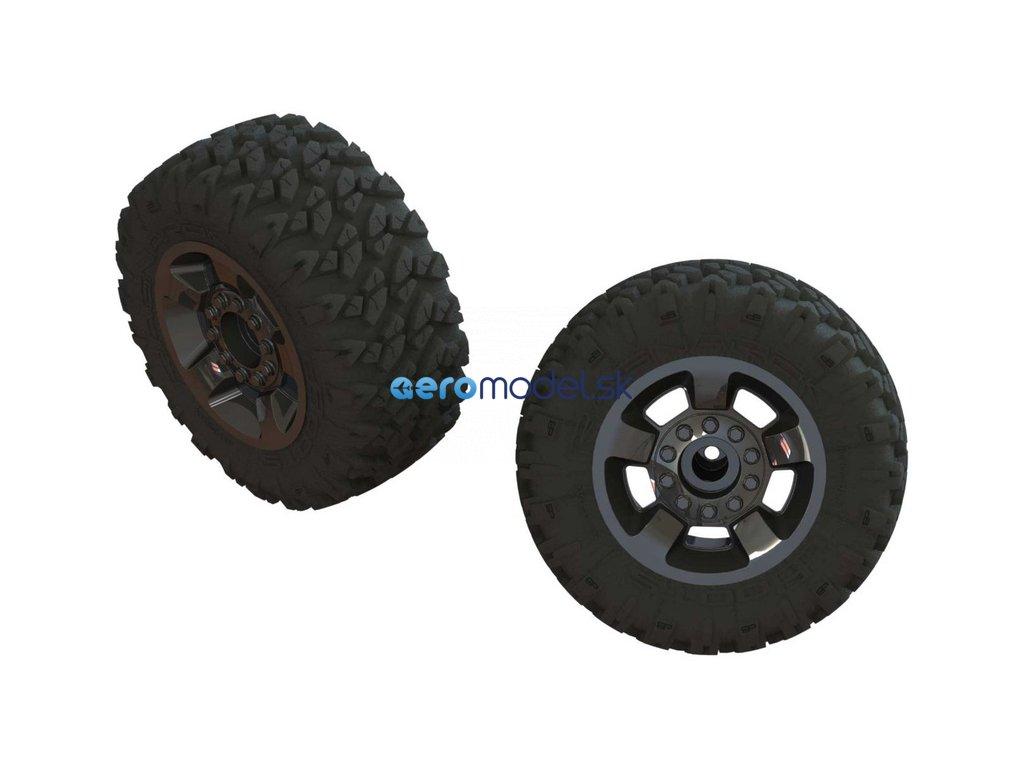 Arrma kolo s pneu dBoots Ragnarok Mt, černý chrom (2) ARA550053