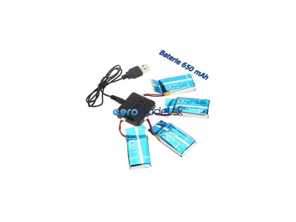 Nabíjač pre 4ks + 4ks Li-Pol batérií 600mAh pre Syma X5C, SC, SW, atď.
