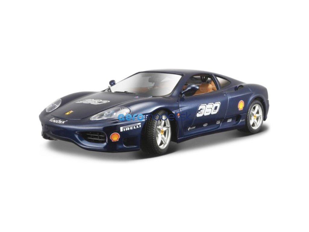 Bburago Ferrari 360 Challenge 1:24 modrá metalíza BB18-26304