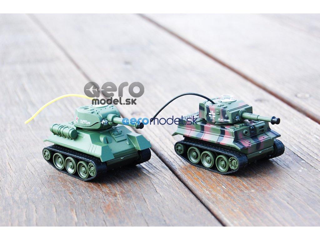 Bojujúce RC mini tanky - 2ks v balení - Tiger vs T-34