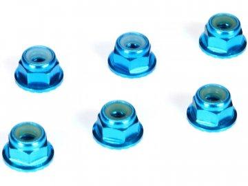 Team Losi Racing TLR samojistná matice M4 s přír. hliník modrý (6) TLR336001