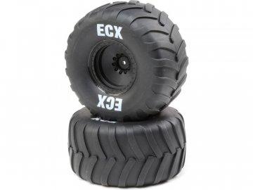 ECX kolo s pneu, černý disk (2): Amp Crush ECX43016