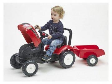 Falk FALK - Šlapací traktor Land Master s vlečkou červený FA-3081AD