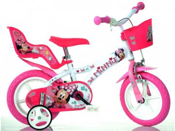 """Dino-Bikes DINO Bikes - Dětské kolo 12"""" Minnie se sedačkou pro panenku a košíkem DB-612LNN"""