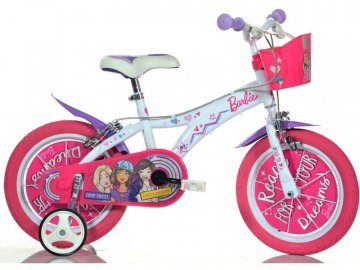 """Dino-Bikes DINO Bikes - Dětské kolo 14"""" Barbie s košíkem DB-614GBA"""