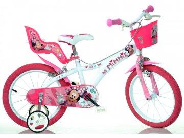 """Dino-Bikes DINO Bikes - Dětské kolo 14"""" Minnie se sedačkou pro panenku a košíkem DB-614NN"""