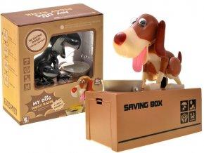eng pl Dog eating a piggy bank coin ZA1868 11933 7