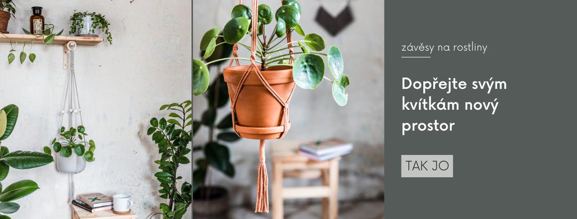 Macramé závěsy na rostliny