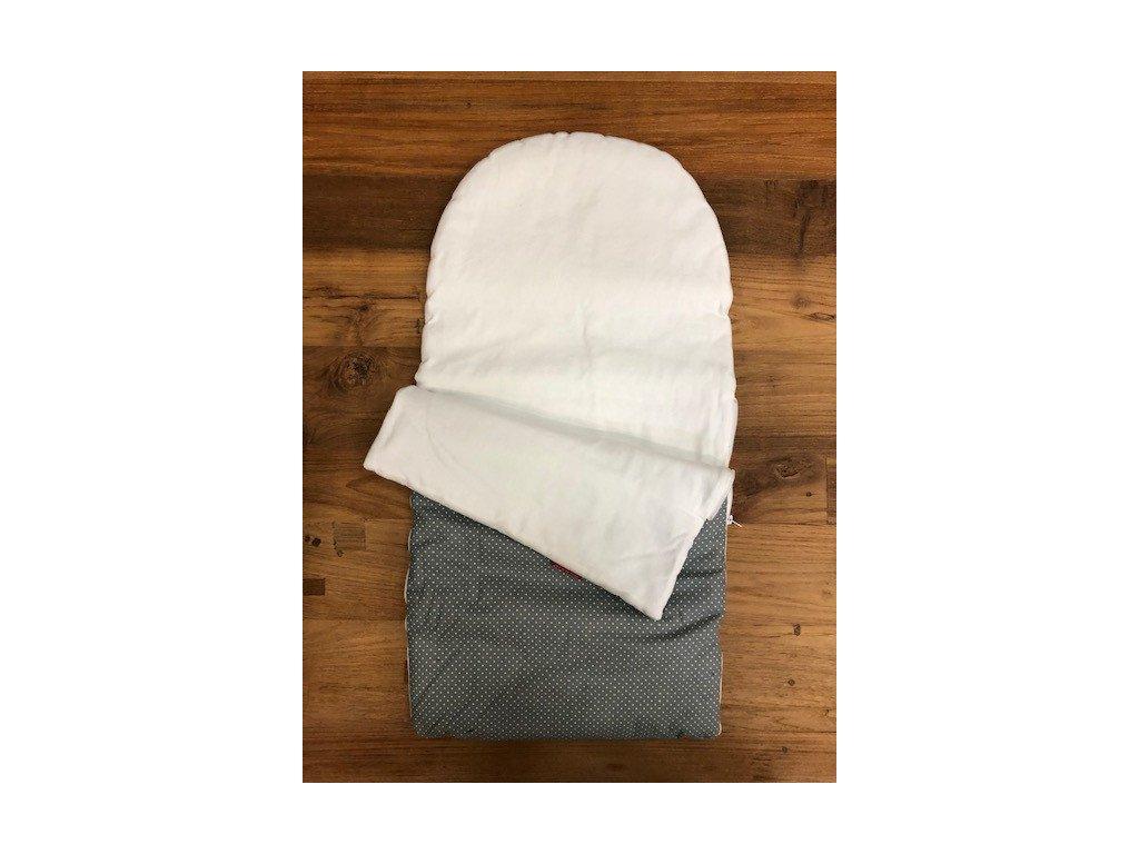 Zavinovačka zipová bavlněné plátno puntíček šedá - bavlna bílá