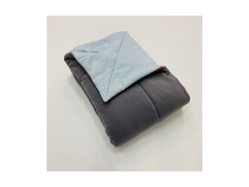 Peřinka, výplň do dětské postýlky bez povlékání - šedá mikrofleece - modrá bavlna 100x135