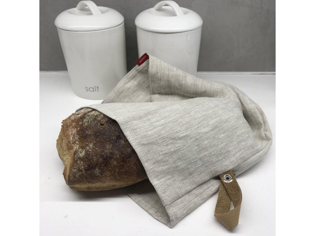 Lněný vak na chleba / sáček na pečivo s koženým poutkem -100% len, gramáž 245g/m2 - Oatmeal