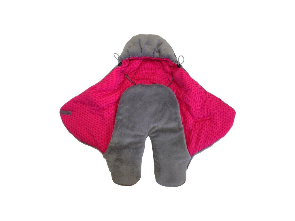 Zavinovací fusak do autosedačky - mikroplyš šedá střední / bavlna puntík červeno-růžový