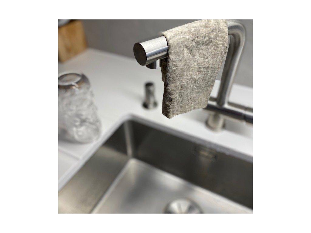 Lněný hadřík na nádobí s úchytkou - 100% len khaki, přírodní