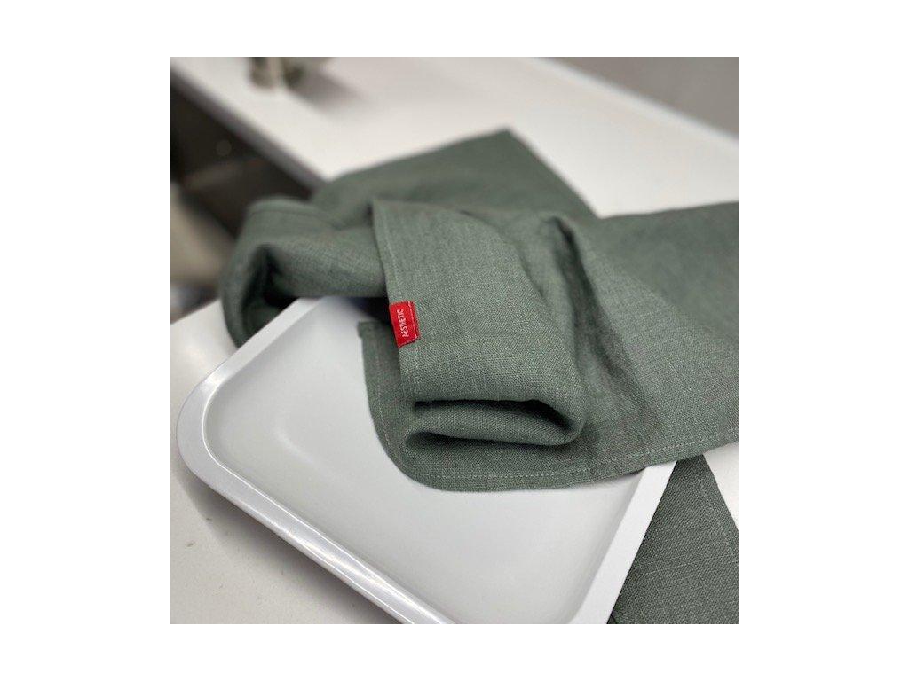 Lněná utěrka - 100% len, gramáž 245g/m2 - Olive Green