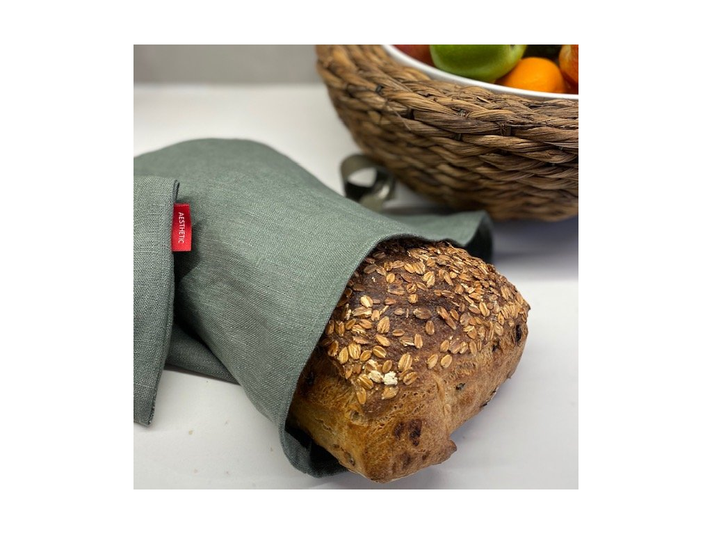 Lněný vak na chleba / sáček na pečivo s koženým poutkem -100% len, gramáž 245g/m2 - Olive Green