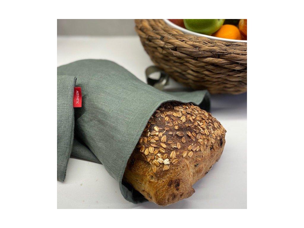 Lněný vak na chleba / sáček na pečivo s koženým poutkem - khaki