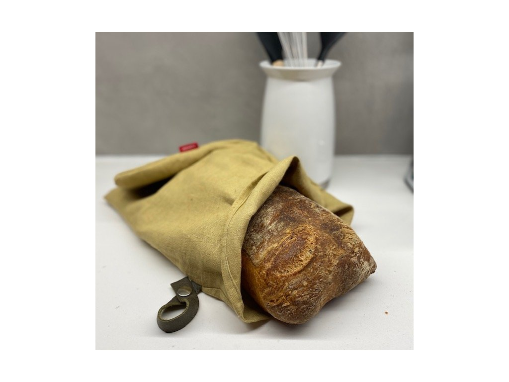 Lněný vak na chleba / sáček na pečivo s koženým poutkem - písková