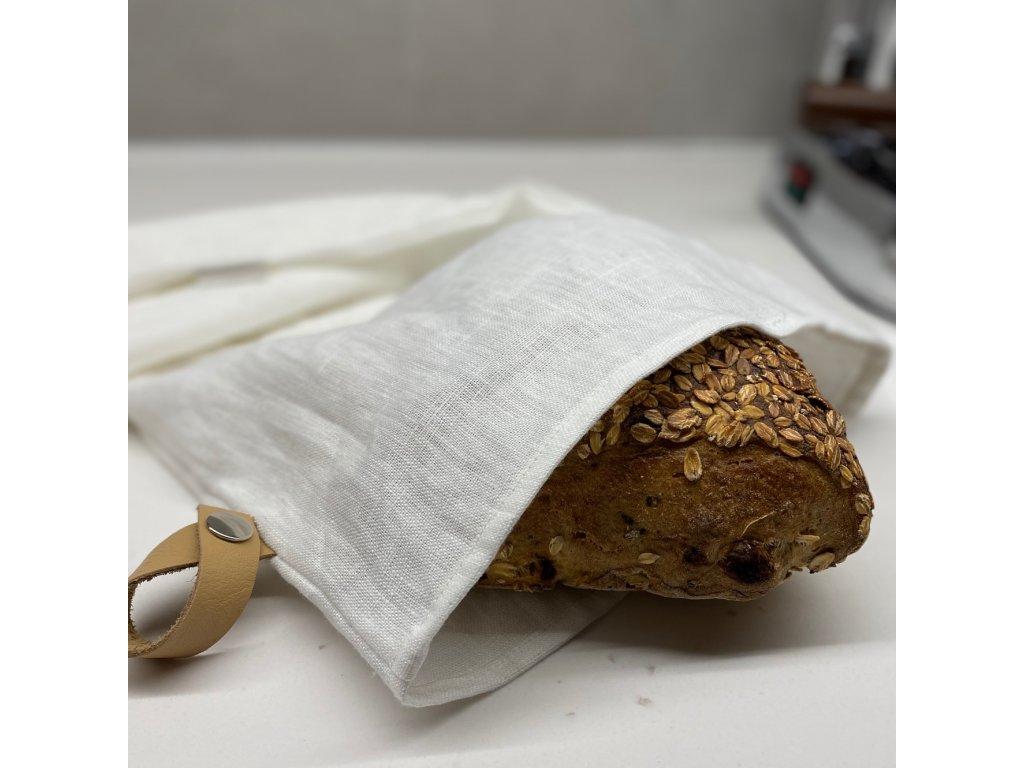 Lněný vak na chleba / sáček na pečivo s koženým poutkem - smetanovo / bílá