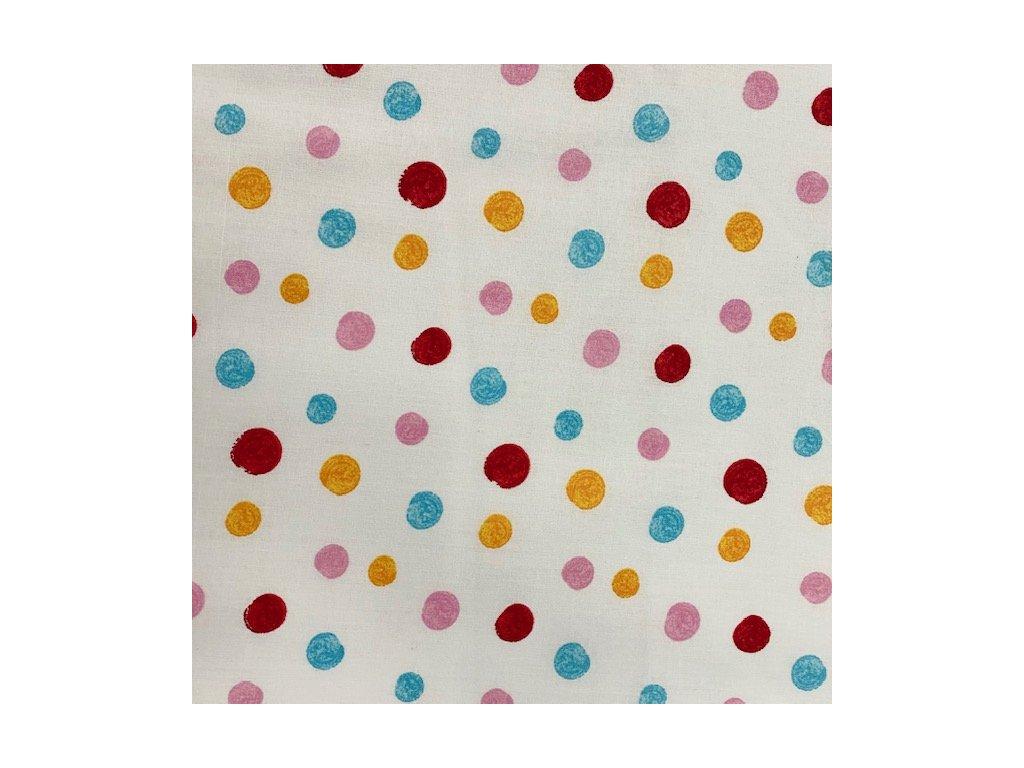 Bavlněné plátno - puntík vícebarevný na bílé