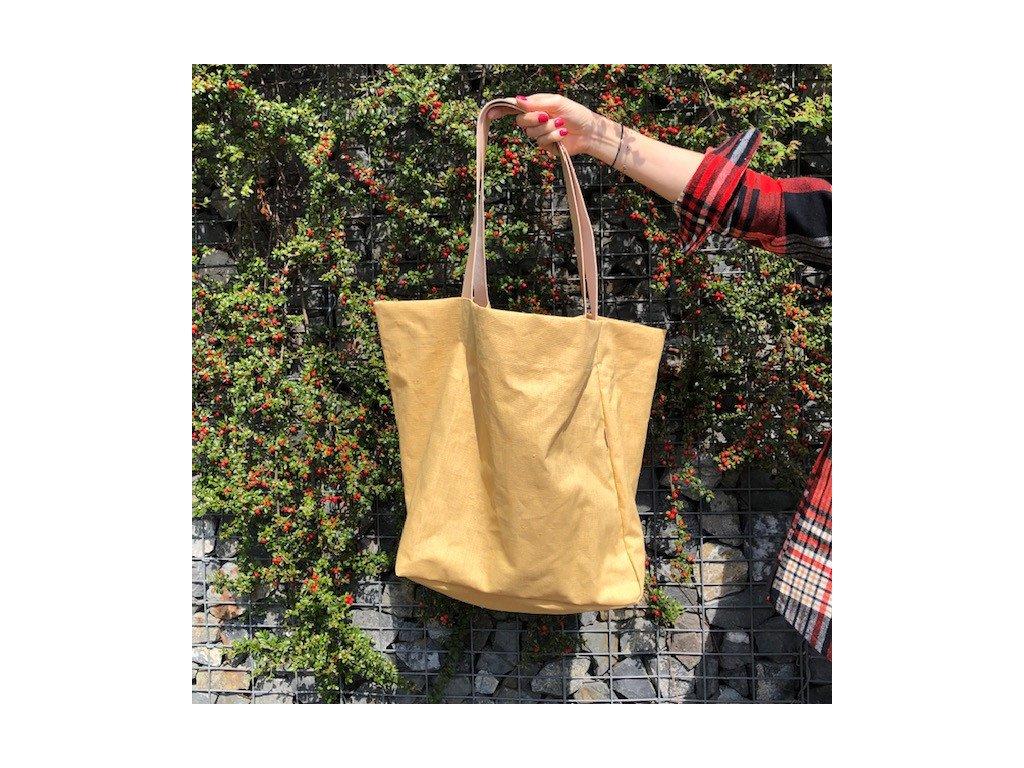 Taška lněná XXL s koženými uchy - Mustard Yellow