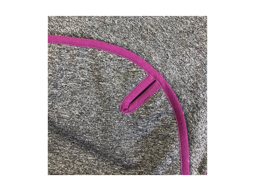Softshellová pikniková deka - šedá melange s fialovým lemem
