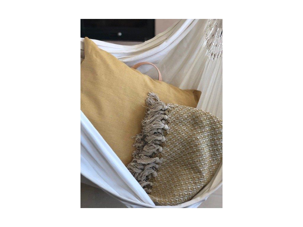 Bavlněný přehoz / pikniková deka s popruhem na přenášení Mustard Pattern 130x160