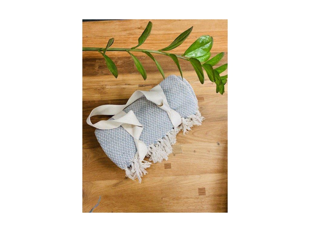 Bavlněný přehoz / pikniková deka s popruhem na přenášení Cream Light Blue 130x160cm