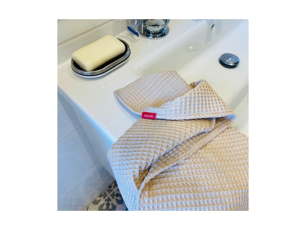 Bavlněný ručník/osuška s vaflovým vzorem - Beige