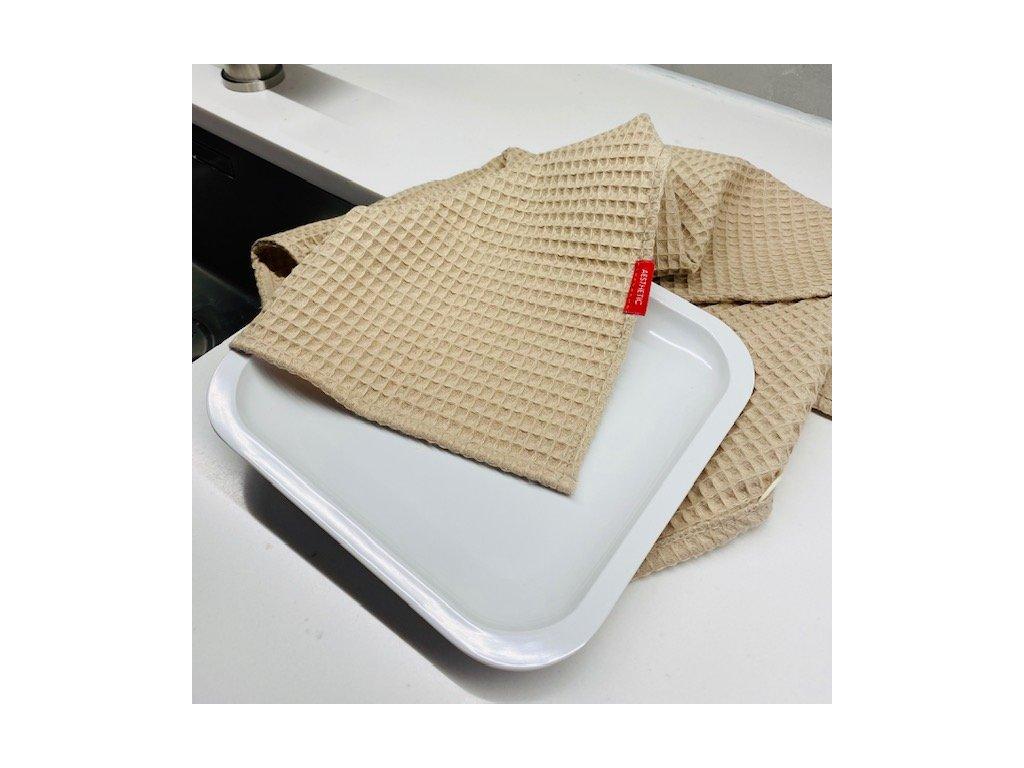 Bavlněná utěrka - 100% bavlna vafle - Beige
