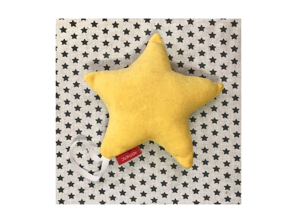 Hvězda závěsná - na hraní - žlutá
