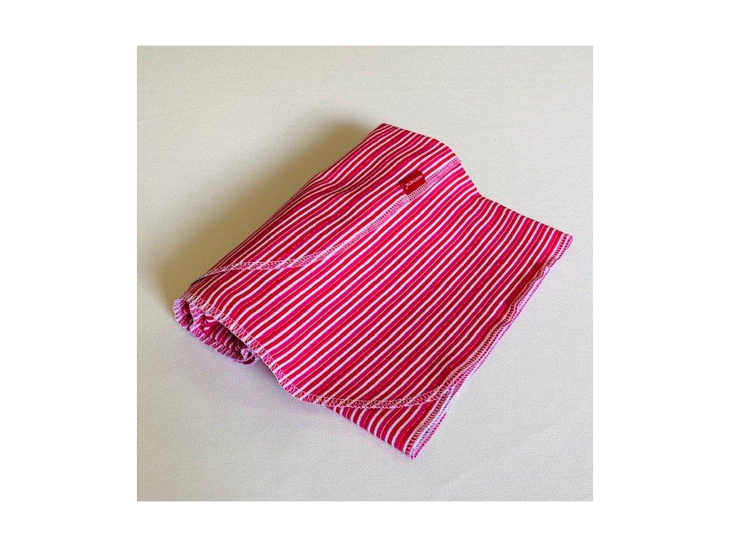Deka dětská letní bavlněná - růžové proužky - bavlněný úplet  72x100cm