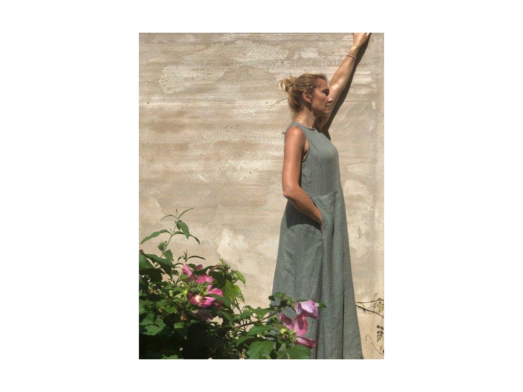 Lněné šaty dlouhé 100% len - khaki
