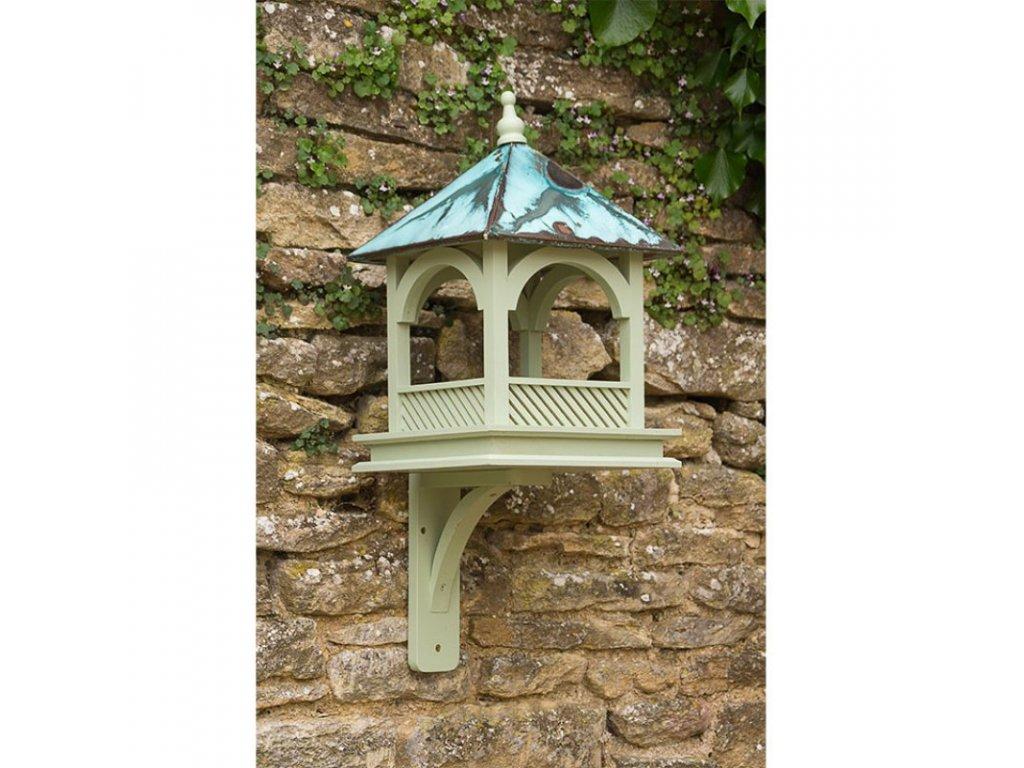 krmitko pro ptaky na zed s medenou strechou zelenadomacnost