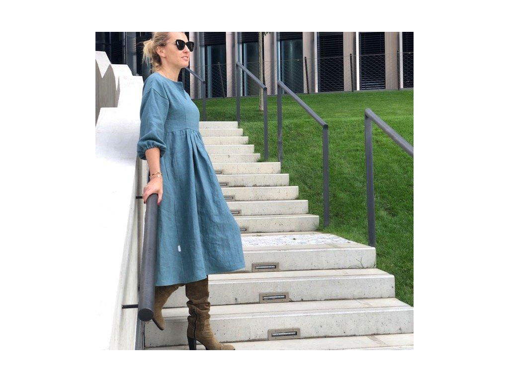 Lněné dámské šaty 100% len - petrolové