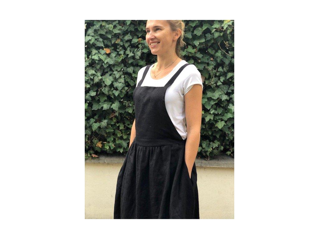 Lněná šatová sukně s laclem - černá - 100% len