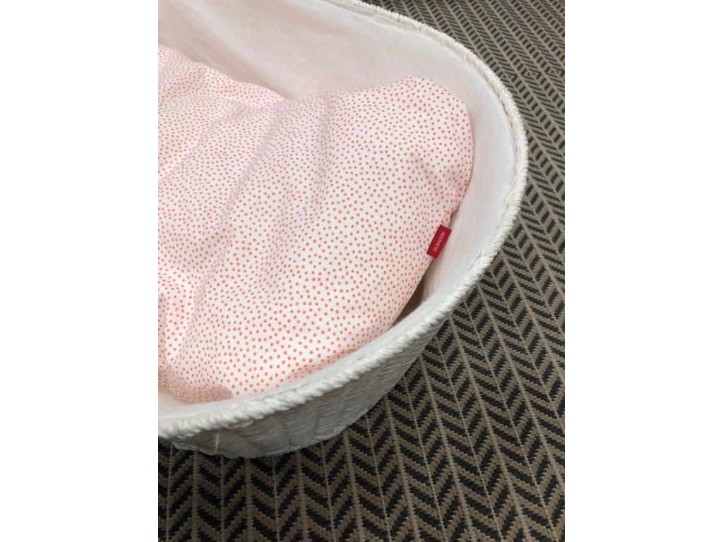 Hnízdo pro miminko péřové-podložka - bavlněné plátno - minimum flamingo / bílá